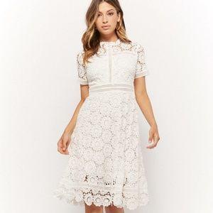 White Crochet Floral Midi Dress